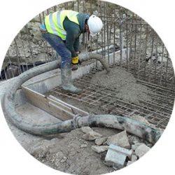 ground line pump pouring volumetric concrete